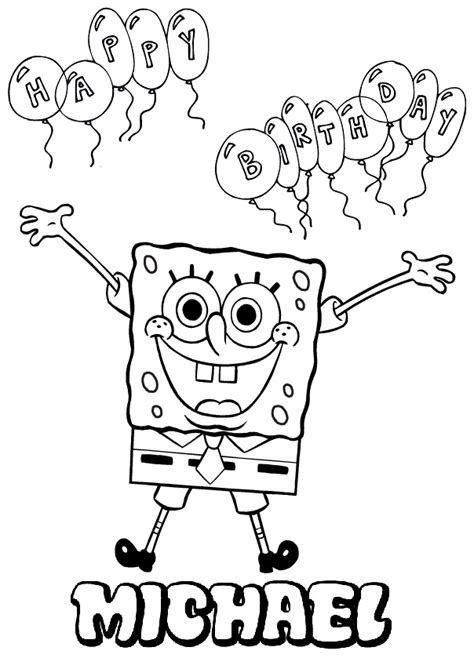 custom happy birthday coloring pages personalized name spongebob coloring page kifestő