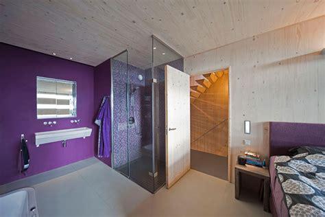 glass shower purple walls bedroom eco friendly house amsterdam