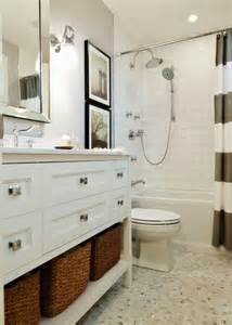 bright white and gray bathroom with west elm stripe