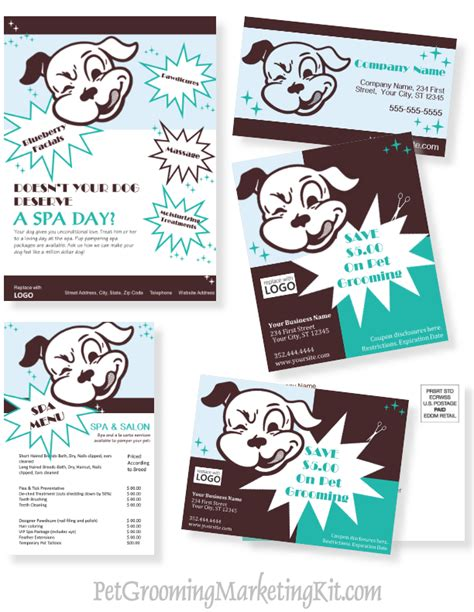 free pet grooming business card templates grooming business advertising and marketing templates