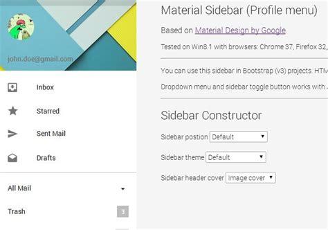 google design menu material design sidebar profile menu
