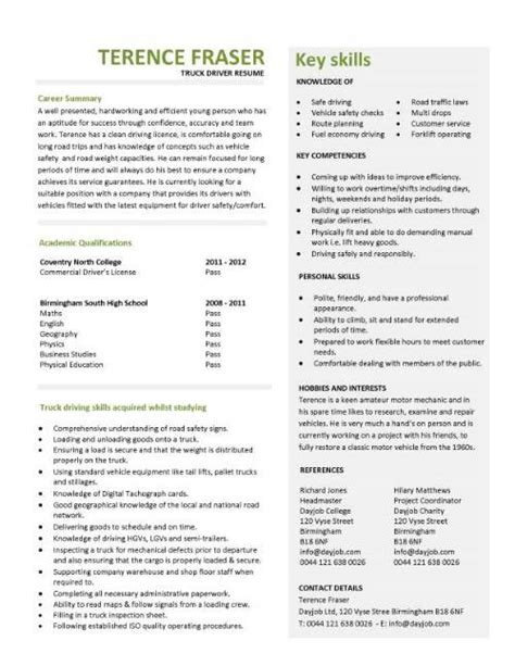 Student entry level Truck driver resume template