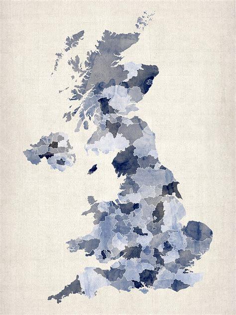 great britain uk watercolor map digital by michael tompsett