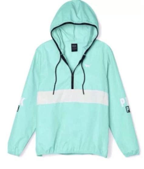 s secret pink half zip anorak hoodie windbreaker mint aqua teal m l colors vs pink