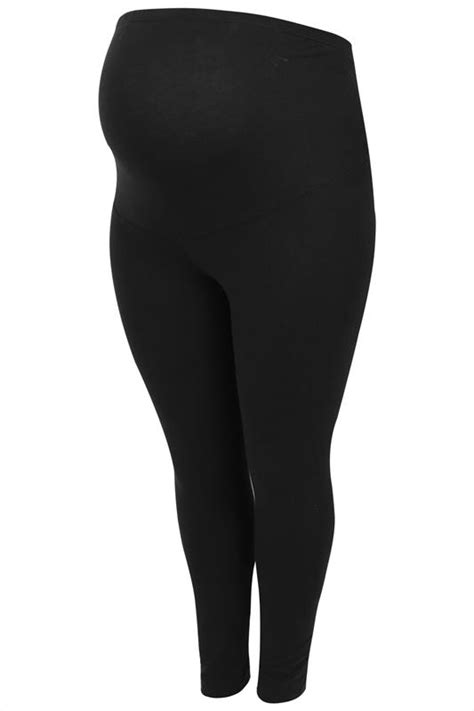 BUMP IT UP MATERNITY Black Cotton Essential Leggings With Comfort Panel Plus Size 16 to 32