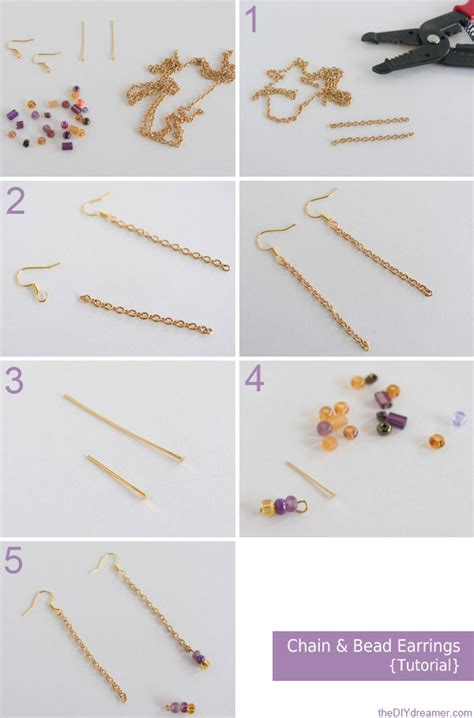 Chain and Bead Earrings Tutorial   The D.I.Y. Dreamer
