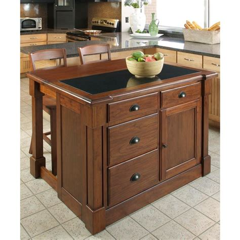 home depot kitchen islands home styles aspen rustic cherry kitchen island with granite top 5520 945 the home depot