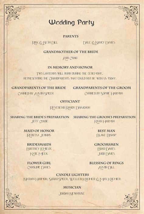 retro wedding program order of service ceremony reception vintage manifesto of ceremony and