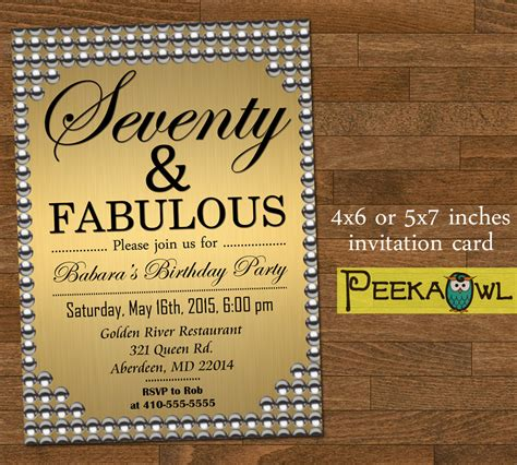 Printable 70th Birthday Cards Printable Gold Pearl 70th Birthday Invitation Card Seventy