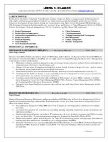sle resume of a project manager it project manager resume sle technical supervisor resume