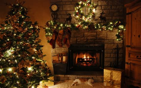 christmas tree and fireplace wallpapers pictures pics