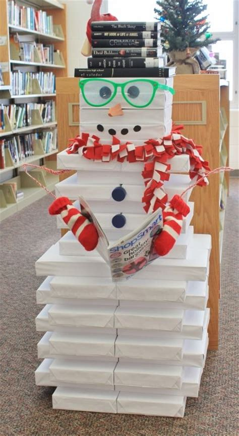 snowman stacked reams of paper book display ideas