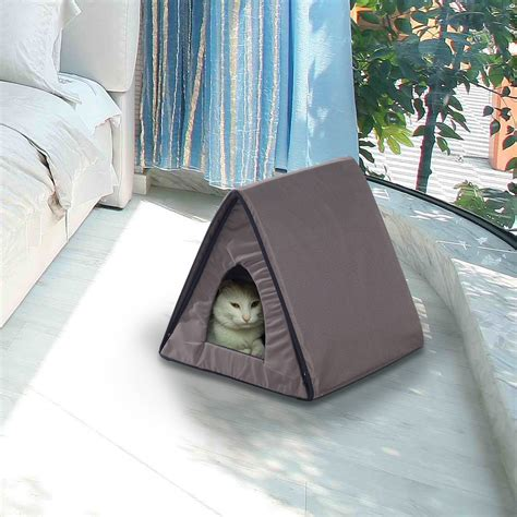 outdoor heated cat bed pawhut heated kitty house outdoor pet cat bed cage warm