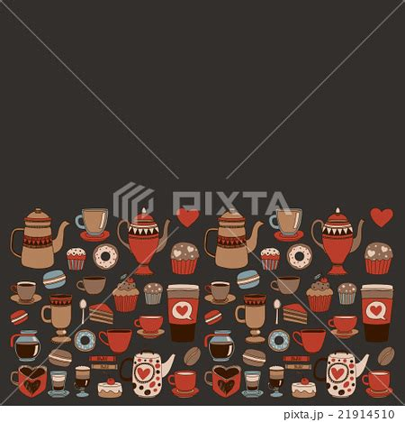 doodlebug shop doodle coffee shop items with seamless patternのイラスト素材