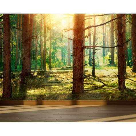 wall mural pine forest peel and stick repositionable fabric wallpaper for interior home decor