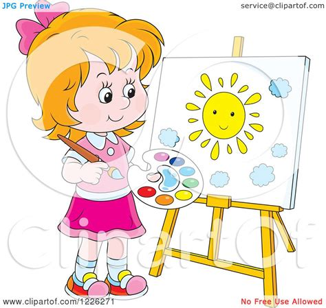 children s painting free clipart of a caucasian painting a sun on a canvas