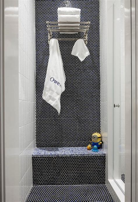 Kids Walk In Shower Ceiling with Blue Glass Hex Tiles