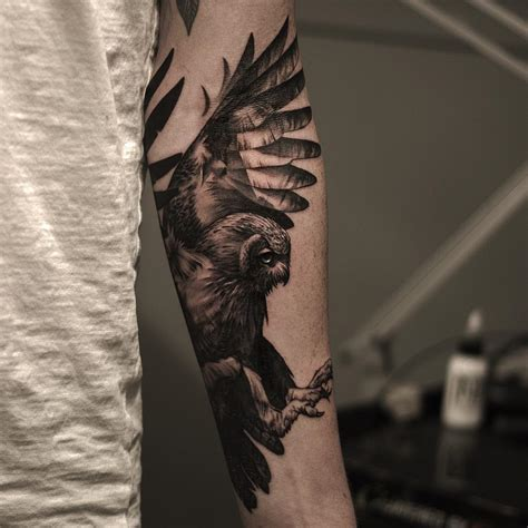 owl forearm tattoo owl arm tattoos elaxsir