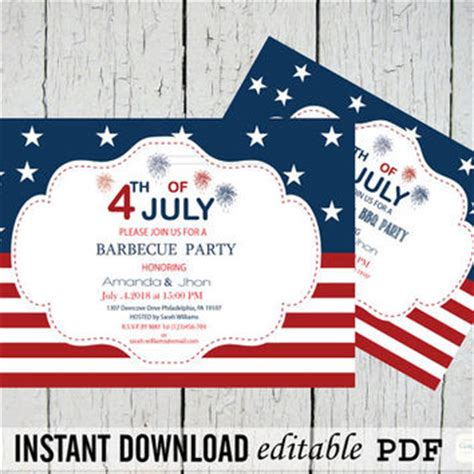 4th of july invitation templates 4th of july independence day from graphicartdesign on etsy
