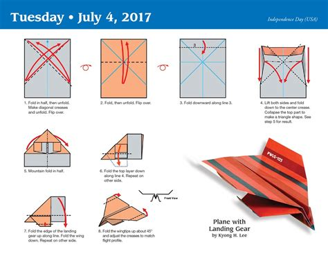 Folding Paper Airplanes Step By Step - paper airplane fold a day 2017 day to day calendar