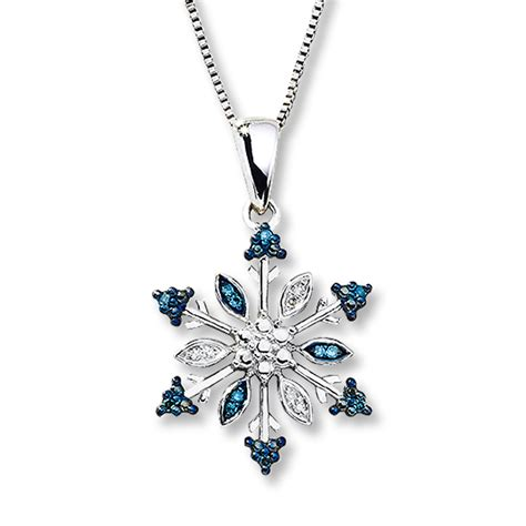 Kay snowflake necklace blue amp white diamonds sterling silver