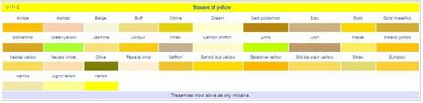 shades of yellow names list of colors and name of their shades shades colors