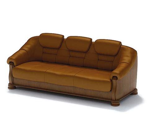 caramel leather sofa 3d model cgtrader com