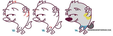 werewolf drawing tutorial how to draw a cute cartooon werewolf for halloween easy