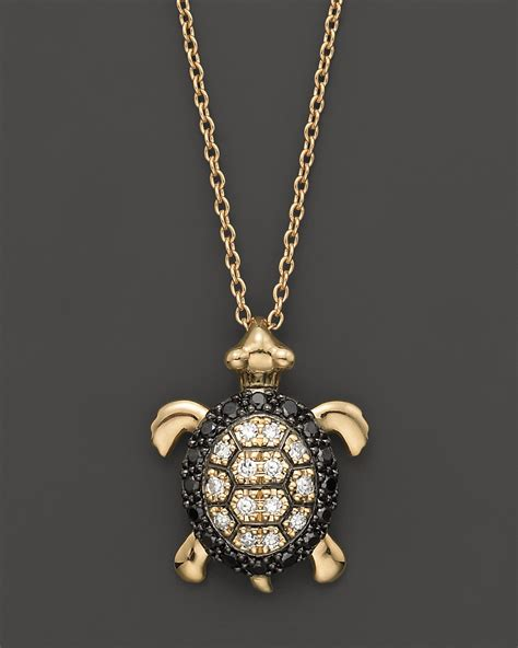 turtle pendant in 14k yellow gold 0 15 ct t w