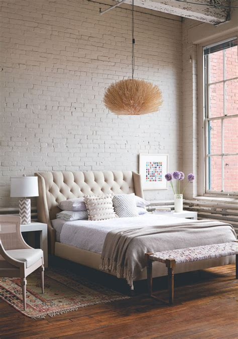 exposed brick bedroom soft industrial chic with brick effect wallpaper lobster