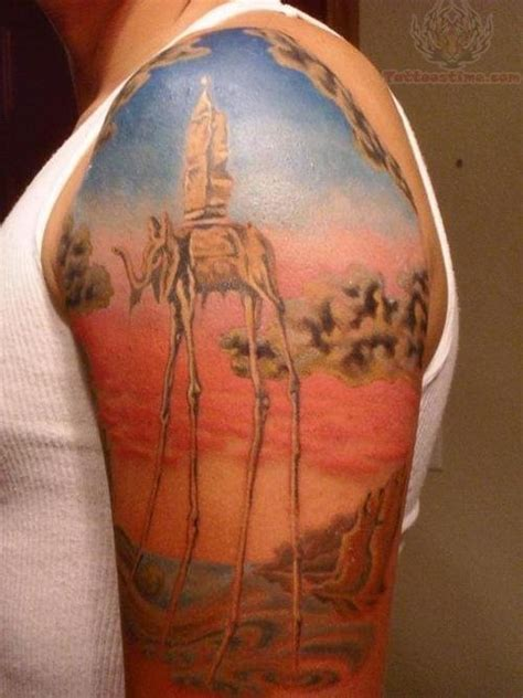 colorful half sleeve tattoo designs colorful dali elephant on half sleeve