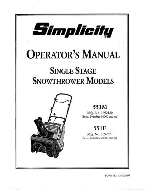 Simplicity Snow Blower 551e User Guide Manualsonline