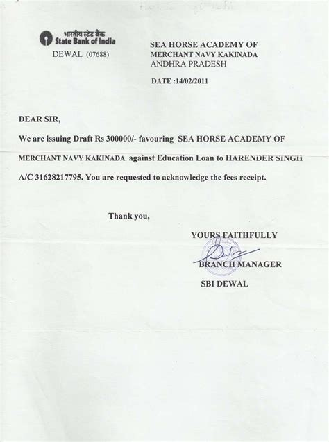 Letter To Bank For Education Loan Settlement Sea Academy Home