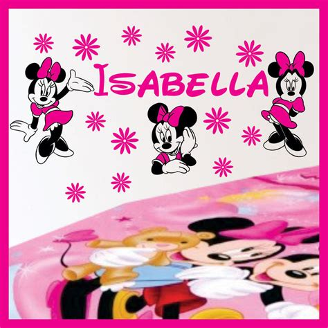 minnie mouse wall stickers name minnie mouse vinyl wall decals stickers 026 ebay