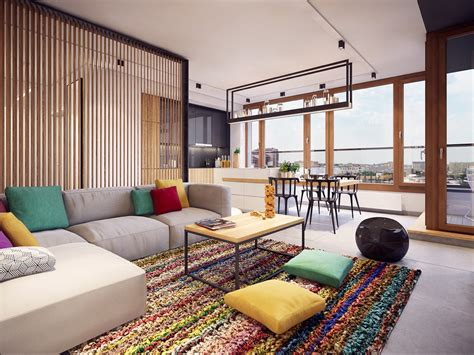 clever room dividers colorful modern apartment design uses space to beautiful