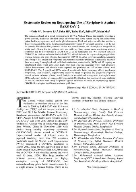 (PDF) Systematic Review on Repurposing Use of Favipiravir