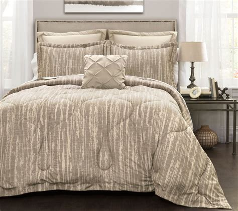 rustic stripe 6 piece king comforter set by lush decor