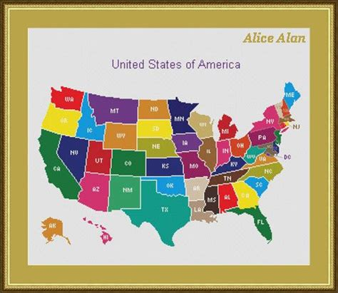 Map File Stitch cross stitch pattern patchwork map of the united states of america counted cross stitch pattern