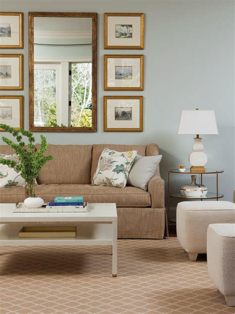 light blue living room is airy cozy hgtv
