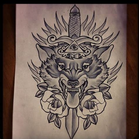 wolf traditional tattoo grey ink dagger and wolf design ink