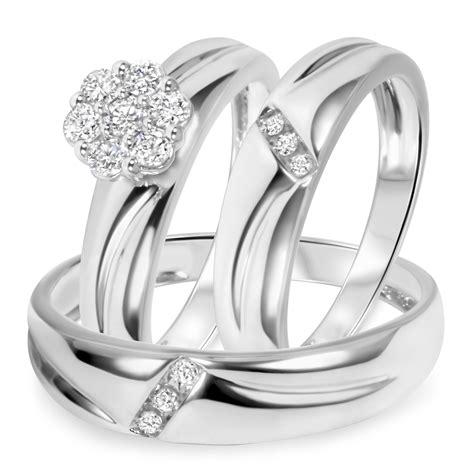 gold wedding ring trio sets 1 2 ct t w trio matching wedding ring set 14k