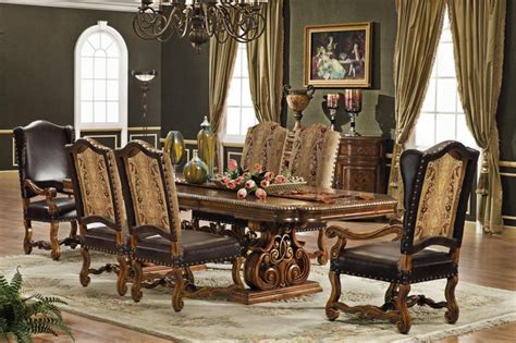 Antique Walnut Dining Room Set by Orleans International 7pc Antique Walnut Jacobean Dining