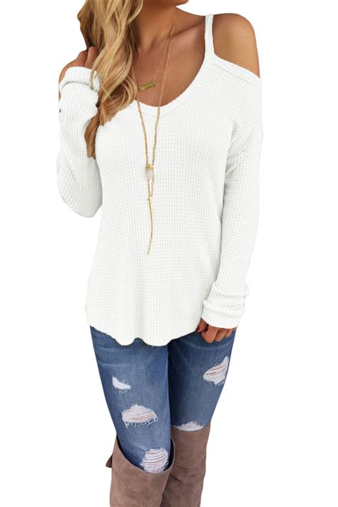 Sweater 10179760 White Knitting us 6 1 white cold shoulder knit sleeves sweater dropshipping