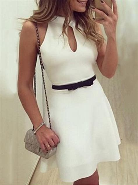 vestido de encaje blanco corto vestido blanco corto sin manga encaje en espalda tidebuy