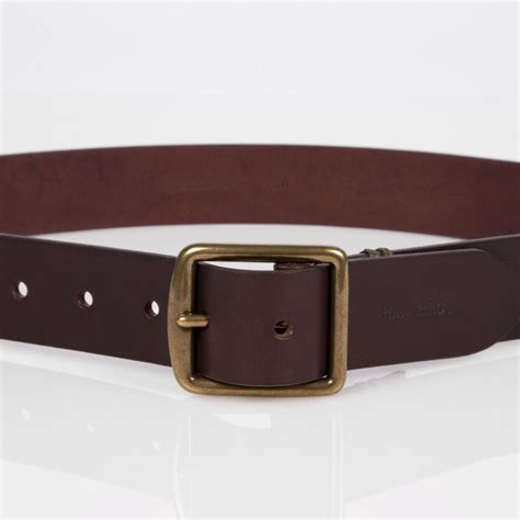 paul smith brown leather buckle belt in