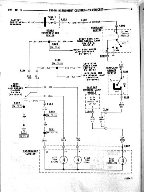 1990 jeep wrangler dash wiring diagram schematic wiring