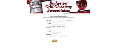 Budweiser Sweepstakes - budweiser grill giveaway