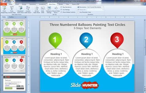 templates powerpoint original free three numbered balloons powerpoint template free