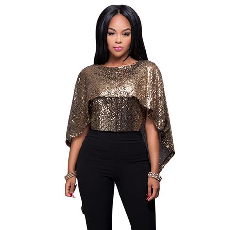 Blouse Squin Top black sequin tops blouse fashion bling batwing sleeve gold sequined shirt top plus
