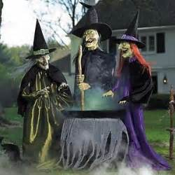 Halloween Decorations Animated Set 3 Lifesize Animated Witches Coven W Cauldron Outdoor